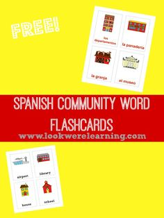Boost your Spanish vocabulary with these free Spanish Community Words Flashcards!