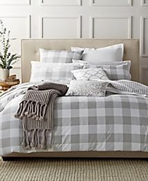 Damask Designs Gingham Dove Twin Comforter Set, Only at Macy's
