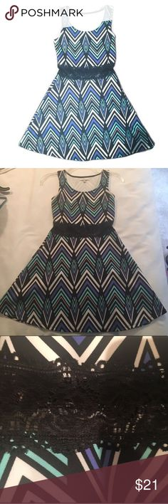 Charlotte Russe chevron lace skater dress Perfect condition! Lace is a little see through. 24 inch waist measured at the lace and 30.5 inch length. No trades. E40 Charlotte Russe Dresses Mini