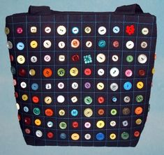 Button Handbag tote Measurements wide high deep Handles Each bag is a one off design so you can be sure of a truly unique item.This bag is made from black heavy duty poly/cotton that has been quilted using a blue embroidery thread then buttoned using Crazy Patchwork, Patchwork Bags, Patchwork Patterns, Quilted Bag, Patchwork Designs, Bag Pattern Free, Denim Bag, Fabric Bags, Button Crafts