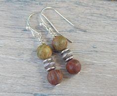 Natural Jasper Gemstone Dangle Earrings