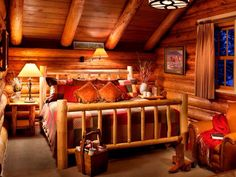 Log cabin Bedroom and it got my attention when I saw it on Pinterest. Great taste of Logs. Harmony is allover this bedroom.