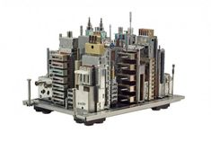 City Sculptures Made of Computer Parts by Franco Recchia