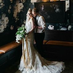 Oh my goodness. That wall and this couple and that dress and those flowers. *swoon* The Dress: Allure 9072 Bridal Dresses, Wedding Gowns, Slc Utah, 2018 Wedding Trends, Alternative Bride, Bridal Makeup, Wedding Inspiration, Wedding Ideas, Wedding Styles