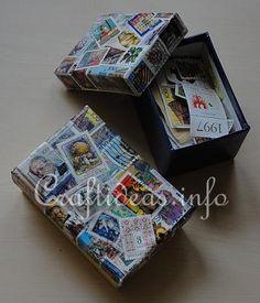 Postage stamp-covered stamp box! ...can be done too with Dollar store or walmart type cardboard flip top pencil boxes to hold jewelry or nicknacks, or pencils!