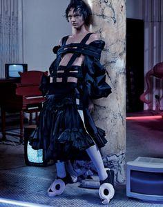interview magazine editorial: Into the Darkness issu: March 2014, Photo Craig McDean Stylist: Karl Templer Makeup: Diane Kendal Hair Orlando Pita model: Sasha Pivovarova