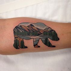 Bear Tattoo with nature/ nature design inside by @aj_tattoo @wa_ink_tattoo""