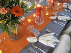 orange et gris #mariage #decoration