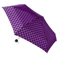 Totes Purple Dots Mini Umbrella - the girl's new umbrella, seems she's inherited my love of spots.