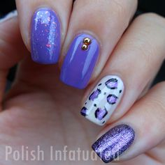Love all these shades of purple, and the purple cheetah printed nail! For fun nail polish colors, visit Walgreens.com.
