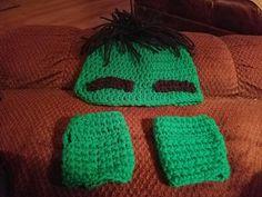 hulk 12 month-3 yr old crochet hat with gloves #homemade #crochet #hulkhat