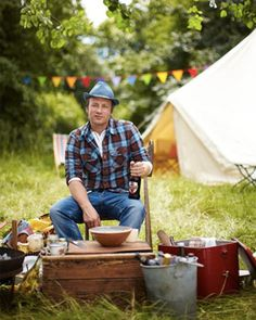 jamie cooks summer - HAHA I love how its a stylized portrait with tent and flags