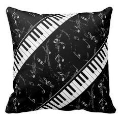 Black and White Piano Music Throw Pillow 2