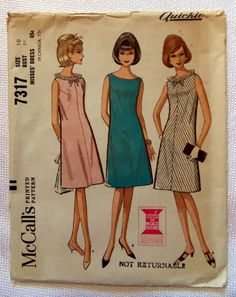 1960s McCall's 7317 Vintage Sewing Pattern Misses' Dress Size 10  Allisons jiffy dress
