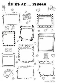 Játékos tanulás és kreativitás: Én és az ... iskola Bullet Journal Decoration, Bullet Journal Banner, Planner Doodles, Punch Needle Patterns, Bullet Journal Inspiration, Teaching Tips, School Projects, Preschool Activities, Kids Learning