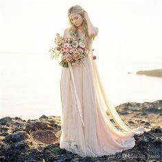 Lace Bohemian Brautkleider mit 1/2 Ärmeln abnehmend Ausschnitt fließenden A-Linie einfachen rustikalen Country Style Blush rosa vestido de noiva boho