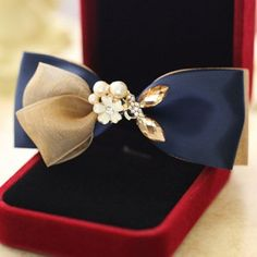 $3.26 Chic Women's Pearl Flower Bowknot Hairpin