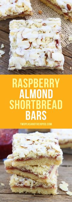 Raspberry Almond Shortbread Bars-buttery shortbread bars topped with raspberry jam, almond streusel, and a sweet almond glaze. A great dessert for the holidays or any day! #cookies #bars #dessert