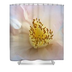 "Inside A Camellia Shower Curtain by Karen Silvestri.  This shower curtain is made from 100% polyester fabric and includes 12 holes at the top of the curtain for simple hanging.  The total dimensions of the shower curtain are 71"" wide x 74"" tall."