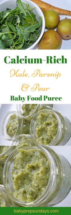 Homemade baby food - Roasted kale, parsnip, pear, puree