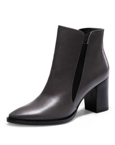 #AdoreWe NAIYEE Grey Pointed-Toe Calf Leather Chunky Heel Short Boots - AdoreWe.com