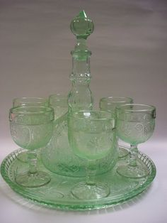 Beautiful Tiara by Indiana Glass Sandwich Pattern Chantilly Green Decanter Set