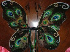 diy peacock wings using black fairy wings as base Diy Fairy Wings, Diy Wings, Peacock Wings, Butterfly Wings, Fairy Shoes, Black Fairy, Fairy Clothes, Fairy Dress, Fairy Land