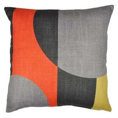 Designed with contemporary curved blocks in orange, yellow and grey tones, this printed cushion is complete with a plump and soft polyester hollowfibre filling...
