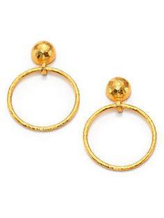 GURHAN - Hoopla 24K Yellow Gold Geometric Geo Drop Hoop Earrings