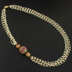 Gorgeous Long Necklace studded with Simulated Ruby and Faux PearlNecklace measures : Length (approx) - 25 InchBase : High grade alloy metal Absolutely Brand New. Latest trend and very popular this season. Gold Jewellery Design, Bead Jewellery, Pearl Jewelry, Antique Jewelry, Beaded Jewelry, Jewelery, Collar Hippie, Indian Wedding Jewelry, India Jewelry