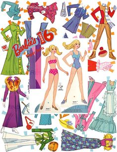 Barbie  Paper Doll Sweet 16 Retro 70s Fashion Vintage Printable Digital Download  Birthday Party Whitman 1974