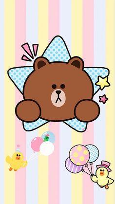 堆糖-美好生活研究所 Lines Wallpaper, Brown Wallpaper, Cony Brown, Hello Kitty Pictures, Friends Wallpaper, Character Wallpaper, Kawaii, Bare Bears, Line Friends