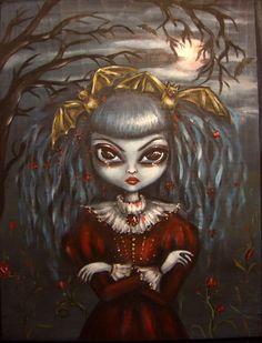 BATTY nd BLOODFLOWERS halloween vampire big eye girl by ninafriday, $47.00