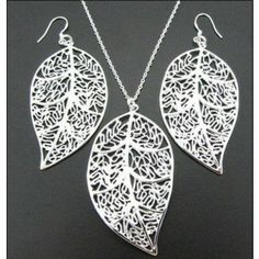 Elegant Hollow Out Leaf Shaped Silver Jewelry Sets #Necklaces Earrings