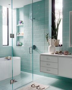 Beautiful white and aqua bathroom with turquoise tile and white floating vanity Aqua Bathroom, Modern Bathroom, Small Bathroom, Master Bathroom, Bathroom Ideas, Shower Ideas, Ceramic Tile Bathrooms, Bathroom Styling, Turquoise Tile