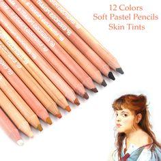 Купить товарПрофессиональный кожи оттенки мягких пастельных Цветные карандаши 12 шт. для портретной рисунок в категории  на AliExpress. Профессиональный кожи оттенки мягких пастельных Цветные карандаши 12 шт. для портретной рисунок