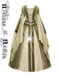 This dress has already been sold but I'm still pinning it for a design idea.  medieval dress costume medievaldress garb Renaissance larp celtic tudor fantasy #Handmade #Dress
