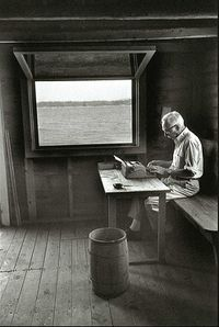 "eb white in his studio  ""Write about it by day, and dream about it by night"""