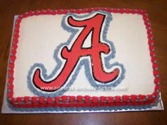 Homemade Alabama Crimson Tide Cake. I feel like it would be fun to put me in as a barbie in an outfit like I'll be wearing for rush on the cake, somehow holding an alabama pom pom. So fun