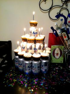 Beer cake!  LOOK AT THE LITTLE BOTTLES IN THE BACK RIGHT