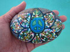 Lotus Stone Peace Sign - Multi Colors - Psychedelic - Hippie  Bohemian - Mosaic - Painted Stone -  Aqua Blue - River Rock. $50.00, via Etsy.