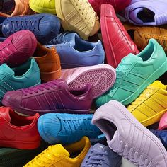 """""""@pharrell in collaboration with @adidasOriginals to release 50 new colorways of the adidas Superstar model in March."""""""