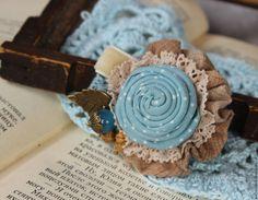 Купить Брошь Летнее небо - голубой, небесный, летняя брошь, текстильная брошь, брошка