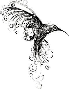 Hummingbird Print by Si Scott. Si Scott is a graphic designer and illustrator who is the driving force behind the UK-based Si Scott Studio. Art Colibri, Tribal Tattoos, Tatoos, Bird Tattoos, Geometric Tattoos, Si Scott, Kunst Tattoos, Drawn Art, Geniale Tattoos
