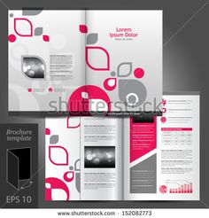 Vector white brochure template design with pink and gray design elements. EPS 10 - stock vector