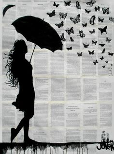 "Saatchi Art Artist: Loui Jover; Ink 2013 Drawing ""butterfly rain"""
