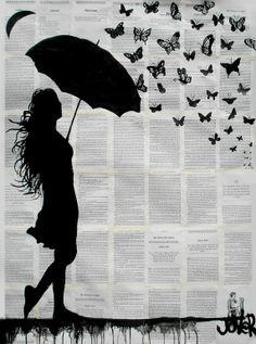 "Saatchi Online Artist: Loui Jover; Ink 2013 Drawing ""butterfly rain"""