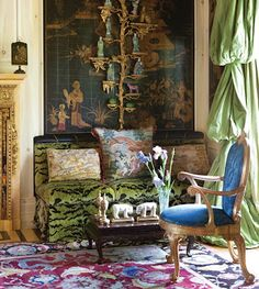 Clarence House velvet tiger fabric