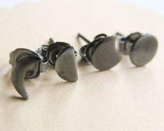 Oxidized Moon Phase Silver Stud Earrings Silver post by misluo, $32.00