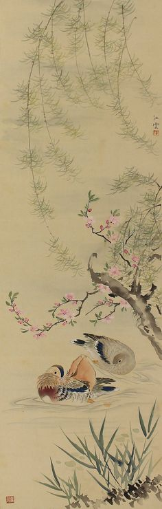 Japanese Fine Art Painting Bird and Flower Mandarin Duck and Cherry Blossom Hanging Scroll Kakejiku
